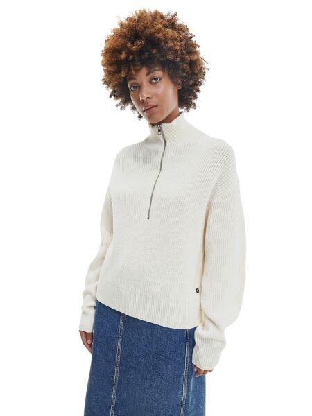 Ženski bijeli roll džemper - Calvin Klein