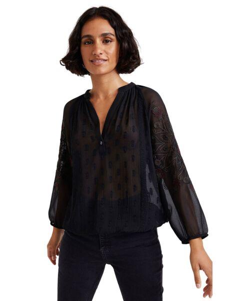 Desigual - Poluprozirna crna bluza