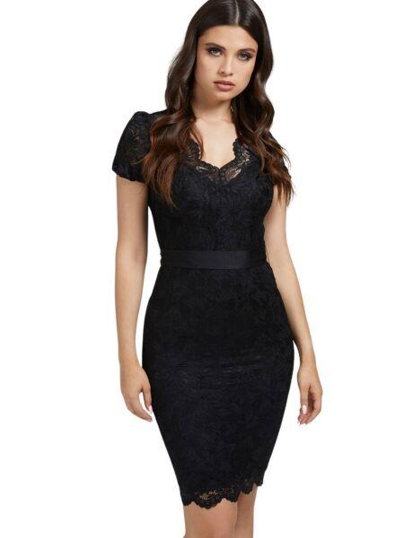 Guess - Čipkana crna haljina
