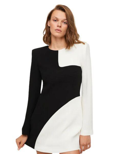 Mango - Crno-bijela mini haljina