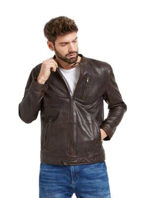 Braon kožna muška jakna - Bata