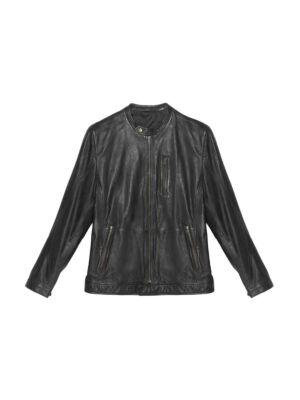 Crna kožna muška jakna - Bata