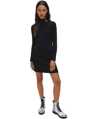 Crna rebrasta haljina sa logom - Calvin Klein