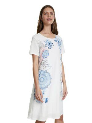 Bijela haljina sa plavim cvjetnim motivima - Desig