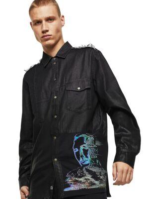 Crna muška košulja sa printom - Diesel