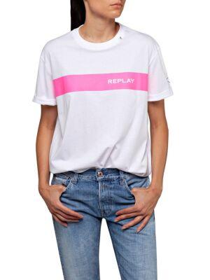 Bela ženska majica sa pink štraftom - Replay