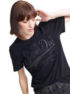 Crna ženska majica - Superdry