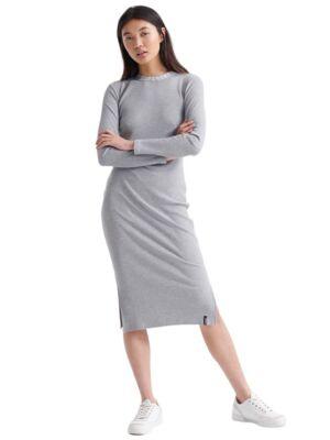 Siva haljina sa brendiranom kragnom - Superdry